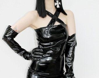 ADELE PIERRI 'Witch's Knot' Glam Goth Rock Heavy Metal style Black Shiny PVC Sleeveless Mini Dress