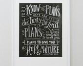 Scripture Art- Graduation Gift - Jeremiah 29:11 Print - Bible Verse - Typography Art - Chalkboard Art - Chalk Art