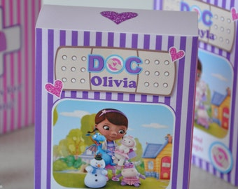 Doc McStuffins Band-Aid / bandage / first aid kit favor / treat box for birthday party TEXT EDITABLE - includes FREE text editable bandages!