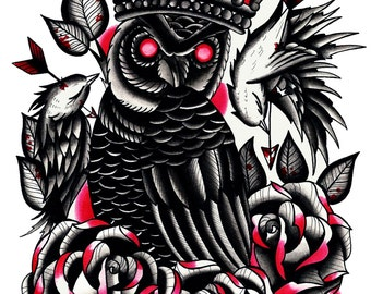 Neo traditional owl tattoo flash A4 art glossy print