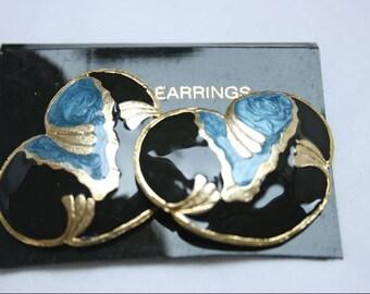 1980's Black/Blue 'Cloud' Enamel Pierced Earrings