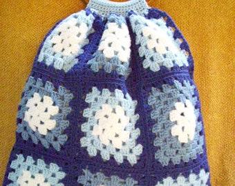 Crocheted Granny Square Tote / Bag / Purse / Lined / Blue / White /  Wooden Handles