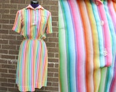 1970s Rainbow Short Sleeve Polyester Fun Dress Gay Pride Stretch Large