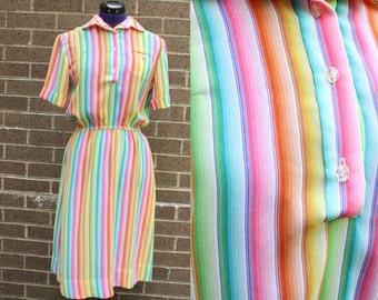 1970s Rainbow Short Sleeve Polyester Fun Dress Gay Pride Stretch Large