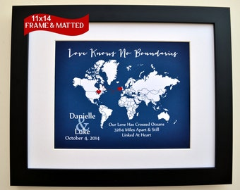 Love knows no boundaries print, personalized map print for couple, long distance relationship gift, lovers quote, custom world map