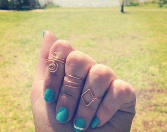 Ring Set of 3 with Spiral Design, Diamond, and Triple Band Rings