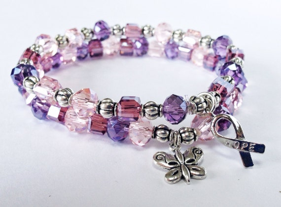fibro bracelet purple beaded stretch bracelets lupus awareness fibromyalgia 8617