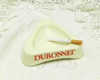 Vintage French White Glass Bistro Publicity Dubonnet Ashtray  / French Cafe Decor / French Design