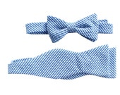 Father Son Bow Tie Sets - Dark Blue Seersucker