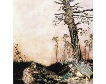 Alice in Wonderland Fabric Block - White Rabbit Says Late - Arthur Rackham