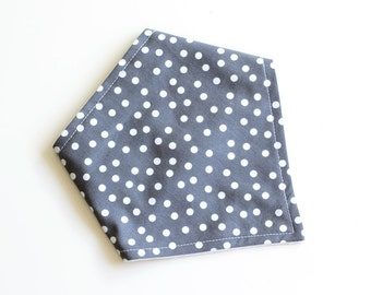Bandana Bib || Dotty Steel || Fleece Backing