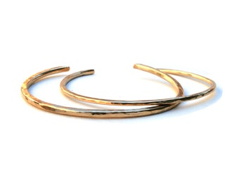 14K Gold Filled Thick and Thin Hammered Bracelets, Open Bangle Set