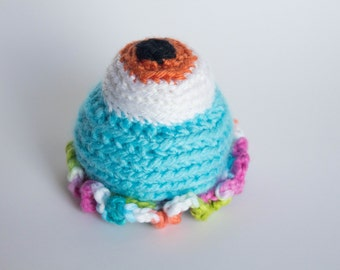 Crocheted Monster - Bright Aqua Blue, Amigurumi Stuffed One Eyed Blob Alien Monster - Perfect for Babies and Toddlers - Fun Stocking Stuffer