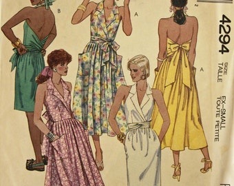 "Halter Sundress - 1980's - McCall's Pattern 4294 Uncut Size XS (6-8)  Bust 30.5 - 31.5"""