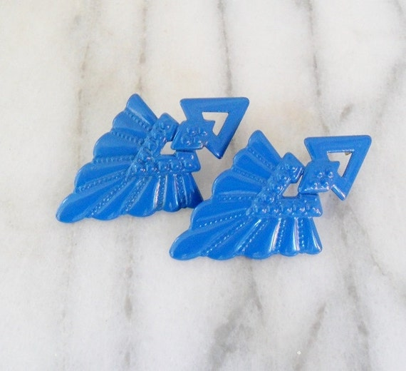 Vintage Bright Blue 80s Earrings