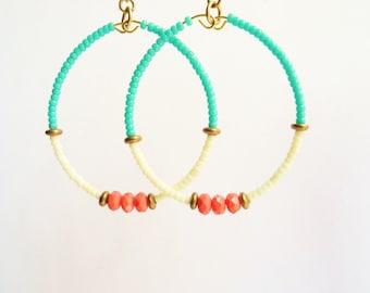 Coral and Turquoise Earrings, Beaded Hoop Earrings, Beadwork, Large Lightweight Dangle, Boho Jewelry, Colorful Bead Earrings, Dangle Hoop