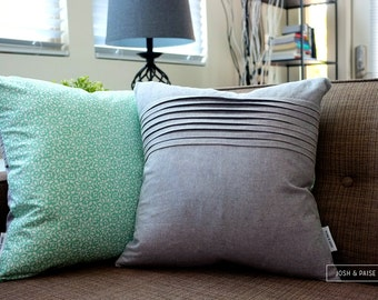 Modern Winter Couch Pillow - Classic Pleats on Gray Linen - Mint Green Aqua Modern Snowflake Quilting Cotton - 18 x 18 inches