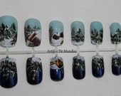 Handpainted Fake/False Winter Wonderland Nails Sold Out/Made to Order (day and night with a Christmas Tree)