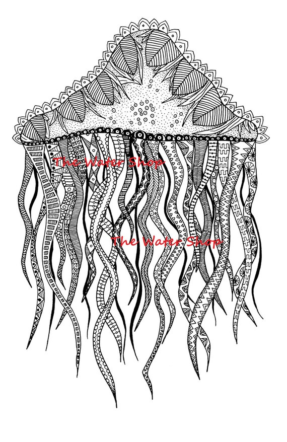 jellyfish coloring page zen jellyfish zendoodle underwater life adult coloring pages kids