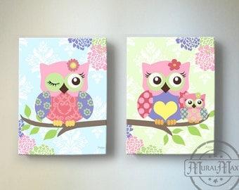 owl decor owl canvas art baby girl nursery art owl nursery prints canvas