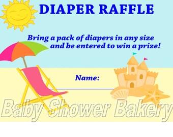 Beach Theme Baby Shower Game, Beach Baby Shower Diaper Raffle Ticket, Printable Beach Baby Shower Game, Instant Download Diaper Raffle Card