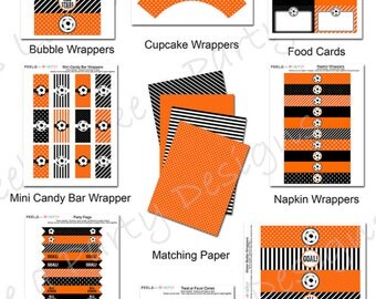 Orange Soccer Party Pack - Printable - Instant Download