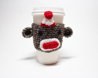 Coffee Cozy,  Sock Monkey, Coffee Sleeve, Crochet Animal Can Holder, Drink Cup Holder, Java Jacket