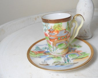 Japanese cup- hand painted cup- Asian art- Sweetlakevintage-multi colored cup- asian home decoration- home interior design- hand painted cup
