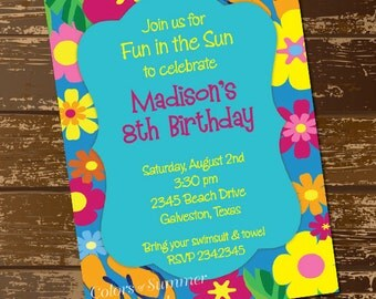 Tropical Birthday Invitation, Beach Party Invitation, Pool Party Invitation, Tropical Flowers, Flip Flops, Fun in the Sun - Digital File