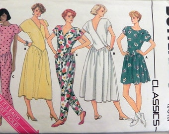 """1980s Jumpsuit and Dress sewing pattern  Butterick 3699 Size 6 8 10 Bust 30.5 31.5 32.5"""" UNCUT FF"""