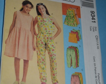 McCall's 9341 Childrens and Girls Top Dress and Pull on Pants in Two Lengths Sewing Pattern -Sizes 7 8 10 or 10 12 14
