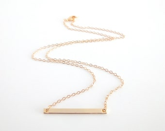Dainty Necklace, Gold Bar and Fine Chain, Simple Contemporary Minimalist Geometric Jewellery