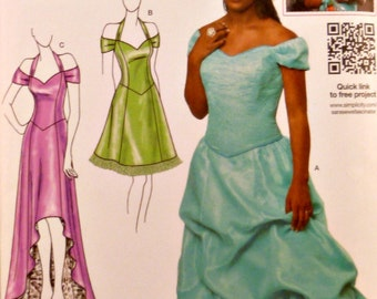Special Occasion Dress Sewing Pattern Size 4 - 12 Off Shoulder Halter Straps High Low Hemline Option Simplicity 1875 Uncut Factory Folds