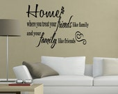 Home Where You Treat Your Family like Friends Wall Art Sticker Wall Quotes Sayings Modern Home Decor (B94)