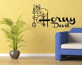 Horny Devil Wall Sticker Decal Sexy Decor Seductive Room Decor (553)