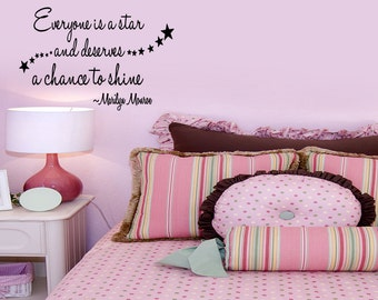 Wall Quotes Everyone is a Star and Deserves a Chance to Shine Marilyn Monroe Removable Wall Sticker Wall Decal Quote (38)