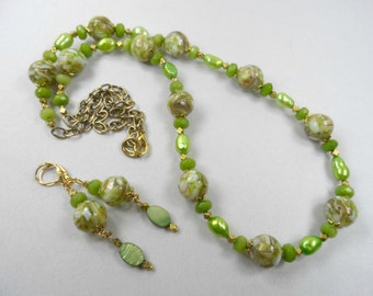 Green Mosaic Shell Necklace and Earrings Set in Goldtone - 28 Inch Length