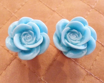 Baby Blue Rose Plugs sizes 2g, 0g, 00g, 7/16, 1/2, 9/16, 5/8, 11/16, 3/4, 7/8 and 1 inch