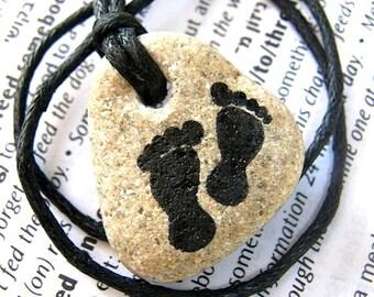 stone necklace Handmade Feet pendant Handmade Feet stone handmade jewelry stone Feet jewel  Feet on stone Handmade