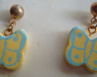 Yellow and Blue Butterfly Ear Rings, Pierced