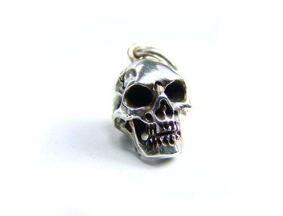 Skull Pendant Solid Sterling Mens Skull Charm Necklace Goth Skull Pendant Memento Mori Pendant Mens Skull Punk Rocker Psychobilly