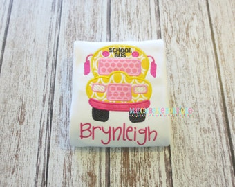 Girls Back to School Bus Appliqued Shirt - Embroidered, Personalized, Monogram, Back to School, Bus, Girls Bus Shirt, School Bus Shirt