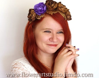 Purple and bronze fascinator, purple wedding hair accessories, Kentucky derby hat, mother of a bride accessories, Royal Ascot headband.
