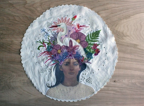 Contemporary, Handcrafted Embroidery on Vintage Handkerchief by Laura McKellar