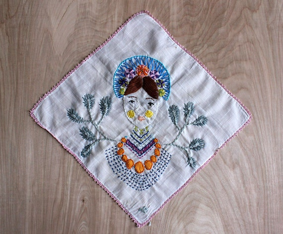 Contemporary, Handcrafted Embroidery on Vintage Handkerchief by Amy Blackwell
