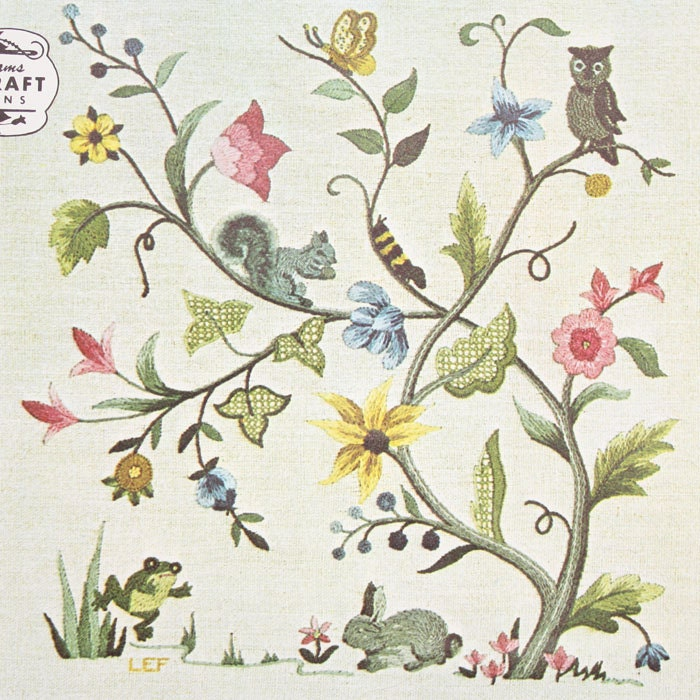 Elsa williams jacobean flowers animal crewel embroidery kit