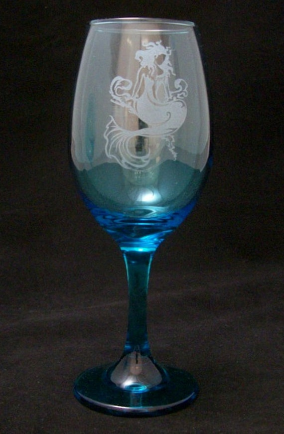 Mermaid etched color wine glass christmas gifts birthday