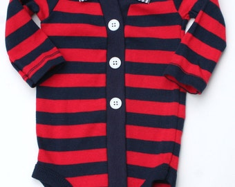 Baby Cardigan and Bow Tie Set, Blue and Red Striped Cardigan, Nautical One Piece Set, Baby Bodysuit