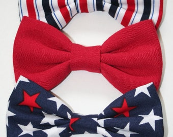Fourth of July Hair Bow or Bow Tie - 4th of July Hair Bows - 4th of July Bow Ties - Red, White & Blue Hair Bow and Bow Ties