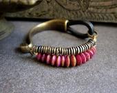 Leather Bracelet,Womens Leather Bracelet,Womens Leather Braclet,African Jewelry,Tribal Bracelet,Indian Bracelet,Radiant Orchid,boho Bracelet